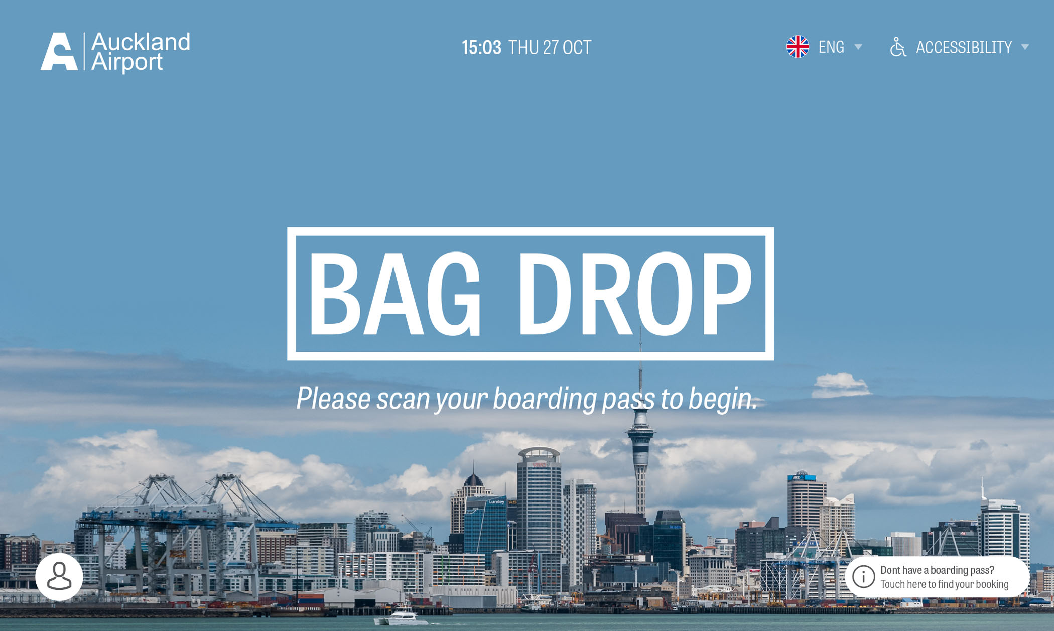 Auckland Airport Bag Drop Application Screen 2