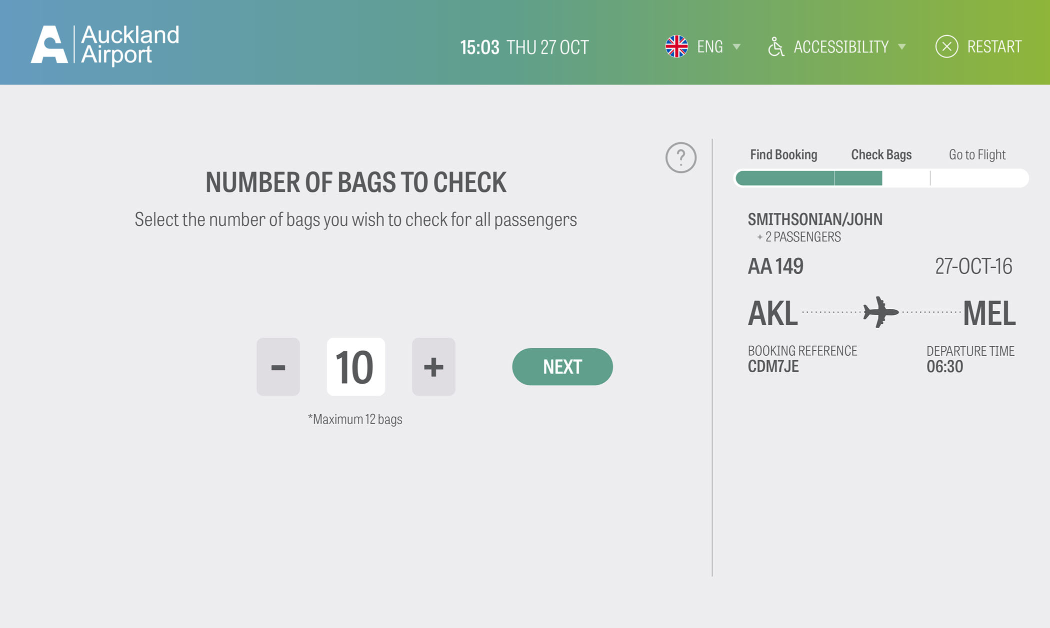 Auckland Airport Bag Drop Application Screen 6