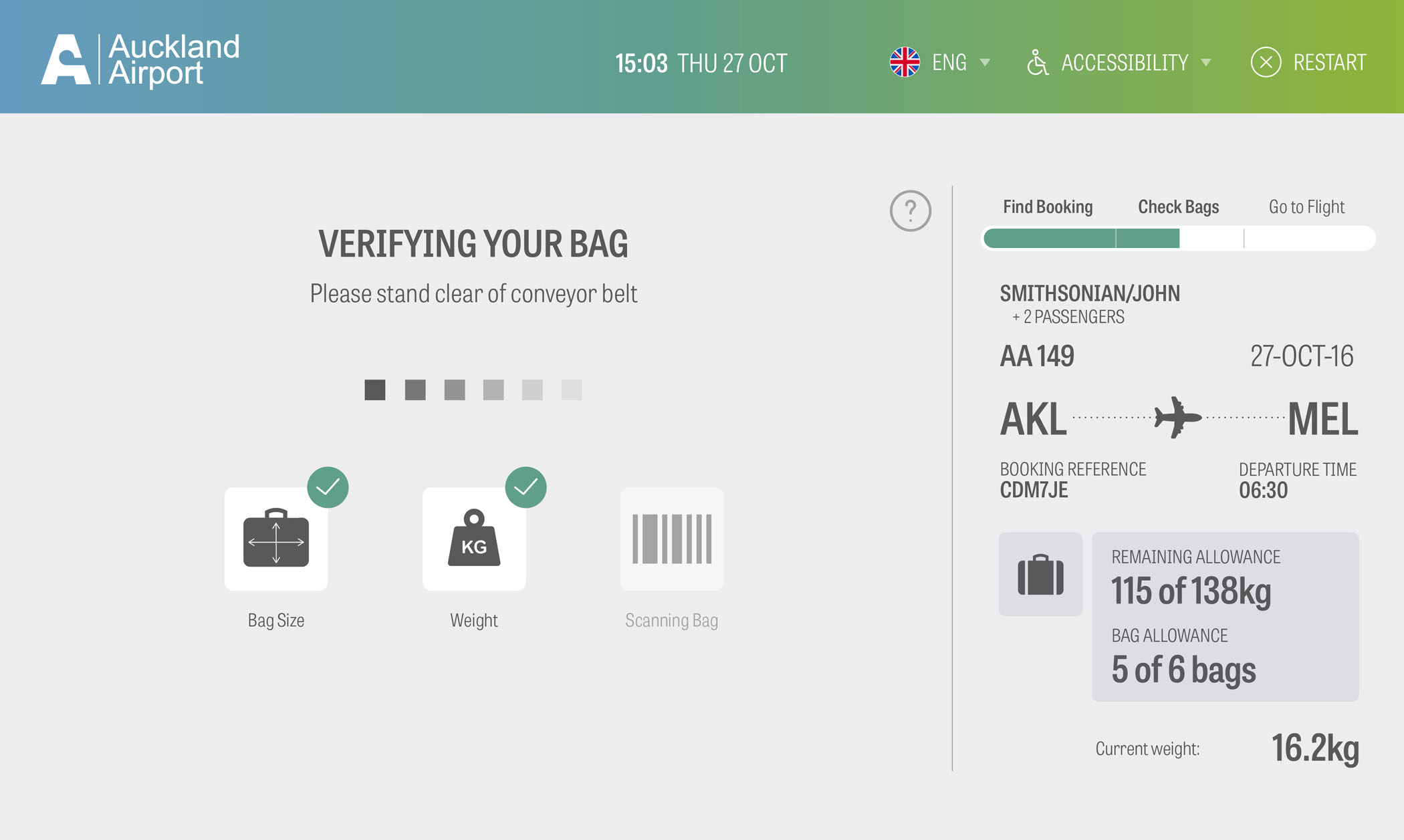 Auckland Airport Bag Drop Application Screen 7